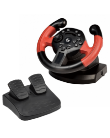 სათამაშო საჭე Gembird USB vibrating racing wheel with foot pedals