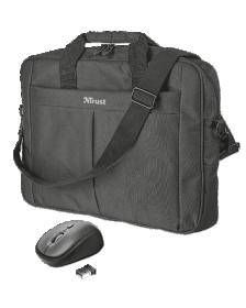 """ნოუთბუქის ჩანთა და მაუსი Trust Primo 16"""" Bag with wireless mouse"""