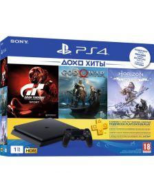 კონსოლი Sony PlayStation 4 Slim (1TB) Black with HZD+GTS+GOW