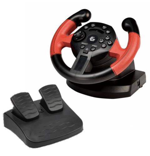 სათამაშო საჭე Gembird USB vibrating racing wheel with foot pedals